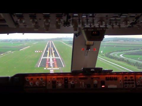 Cockpit view - Boeing 747-400F Landing Amsterdam Schiphol