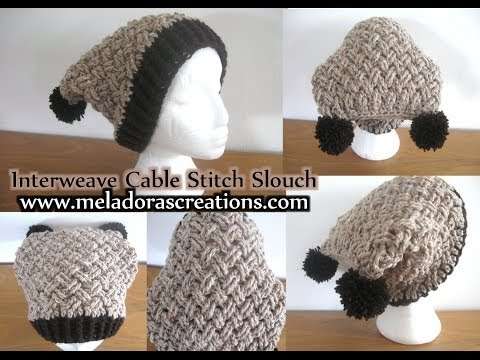 Interweave Cable Stitch Slouch Hat   Left Handed Crochet Tutorial