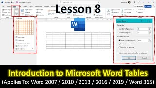 Introduction to Word Tables | Microsoft Word 2016 Tutorial