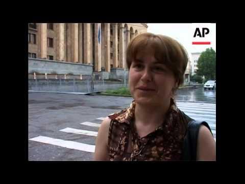 Tbilisi street scenes, vox pops, newpaper headlines