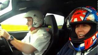 Woman is bad passenger in Subaru WRX STI Lap of Casle Combe Race Circuit