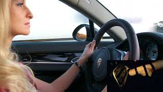 Girl Driving Fast in the autobahn