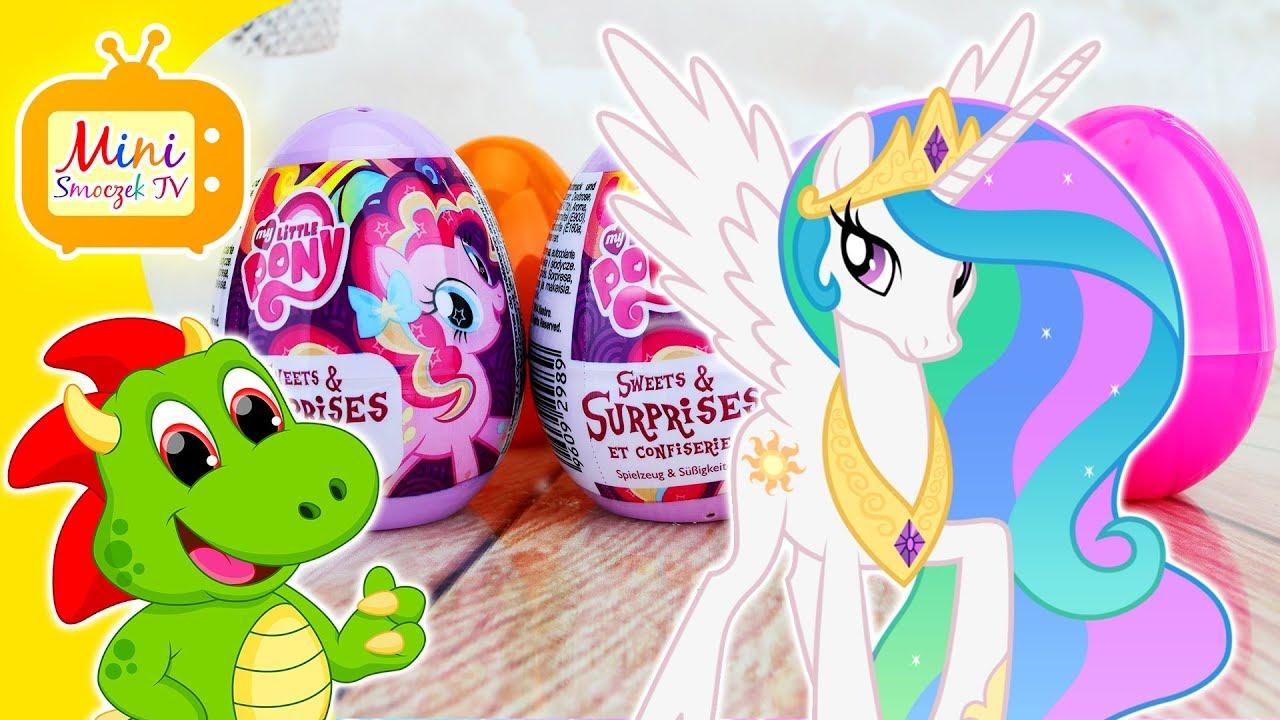 My Little Pony Księżniczka Celestia i Jajka Kinder Niespodzianki Zabawki Pinkie Pie Rainbow Dash