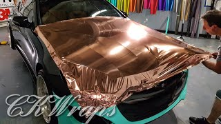 Professional level. How to vinyl wrap hood bonnet. Red chrome vinyl. By @CKWRAPS