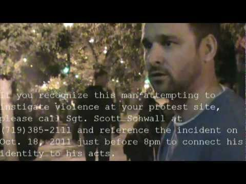Police called on anti-protester, Occupy Colorado Springs, 8pm, Oct. 18, 2011