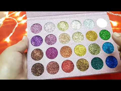 24 Glitter EyeShadow Palette Review Affordable aur Haseen Colours  Ah Glam Gurll