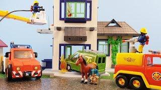 Fireman Sam Fire at Playmobil City House Firefighter Sam Toys Car Crash Mikes Van Toy Fire Station
