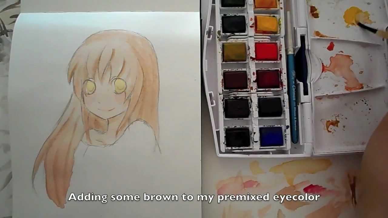 Tutorial Manga Anime Skin Hair And Eyes With Watercolors