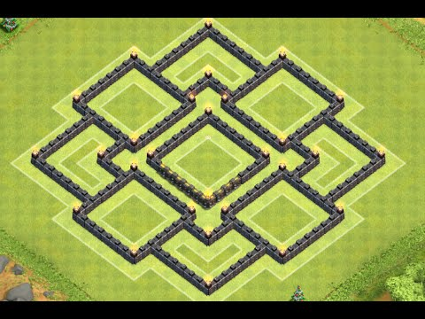 Clash of clans best th9 war base with 4 mortars townhall 9