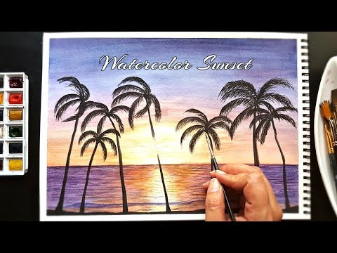 Easy Watercolor Sunset Painting Demonstration   Step By Step