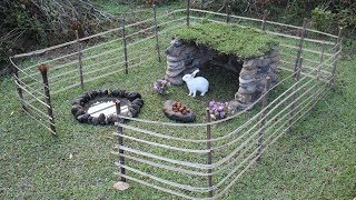 Wild Rabbit Trap In The Forest And Build Stone House For It