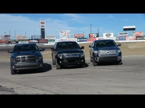 2014 Toyota Tundra vs Ford F-150 vs Ram 1500 0-60 Towing Matchup Review (Part 1)