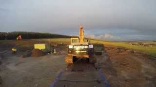 moving doosan dx255 with v8 scania