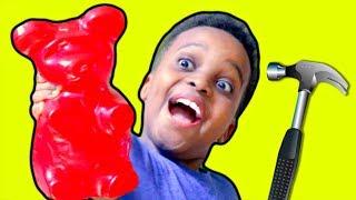Bad Baby Shiloh Crushes GIANT GUMMY BEAR UNDER CAR! - Shasha and Shiloh - Onyx Kids