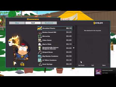 South Park Stick Of Truth For The Hoarder Make It Rain Junk Peddle Achievement Trophy