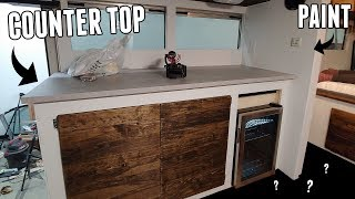 Adventure Bus Get Benches, Counter Top, Cabinets, Fridge, Paint and MORE! 90% Finished!