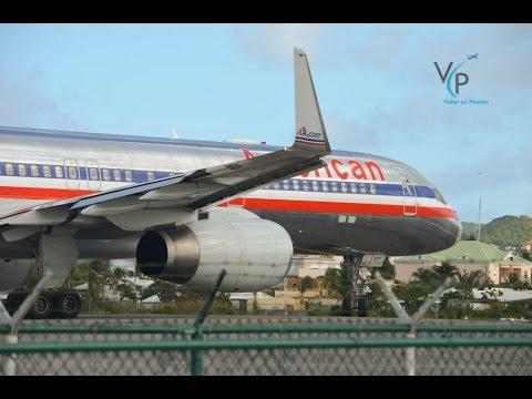 American Airlines / Boeing 757-200 / ¡¡Jet blast in Sint Maarten!!