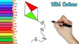 How to Color a Kite Part 2 | Teach Drawing for Kids and Toddlers Coloring Page Video