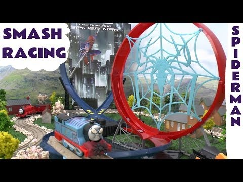 Spider-Man Races Disney Cars 2 Play Doh Thomas and Friends Bloopers Car Crash Accidents Race