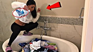 BLEACHING ALL OF HIS CLOTHES & SHOES PRANK!! (gone wrong!!!)