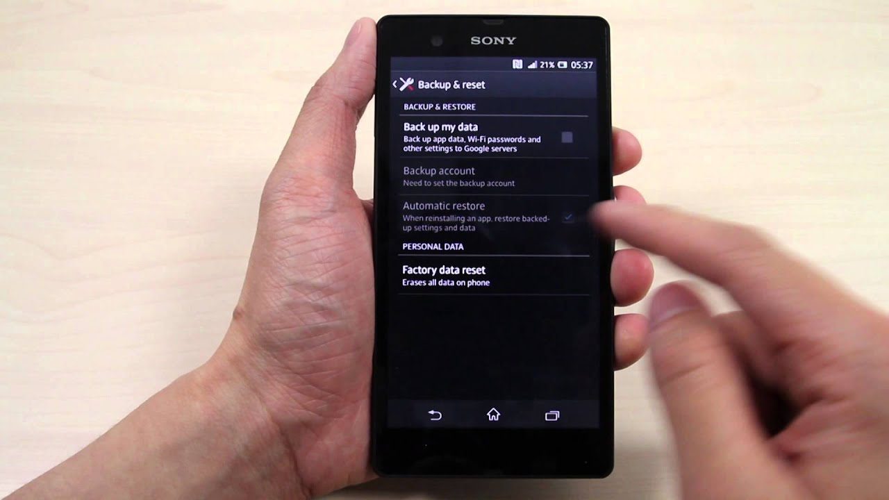How to master reset Sony Xperia Z - YouTube