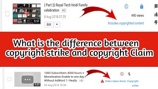 {Hindi} what is the difference between copyright strike and copyright Claim