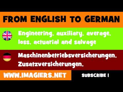 FROM ENGLISH TO GERMAN = Engineering, auxiliary, average, loss, actuarial and salvage insurance services