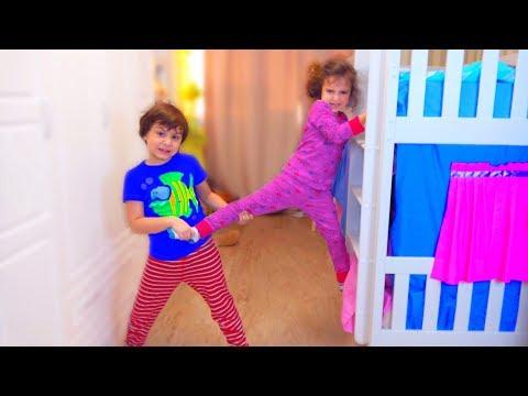 Аминка НЕ ХОЧЕТ делиться КРОВАТЬЮ! Камиль в ЯРОСТИ! для детей kids children