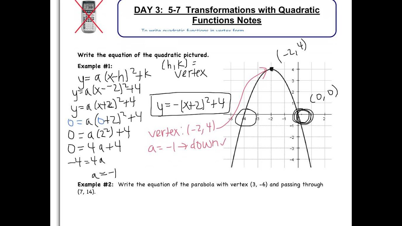 how to write a quadratic function