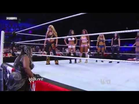 Wwe Raw 5 23 11 - Beth, Eve, Gail Kim & Kelly Vs Maryse, Melina & The Bellas W Kharma Segment video