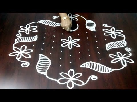 Latest 13 x 7 Rangoli Design  || Easy Muggulu Design || Kolam Design || Fashion World