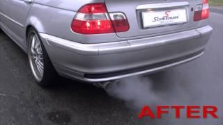 BMW E46 328I Eisenmann sports exhaust, Eisenmann sound-rohr, Schmiedmann header and sports cat