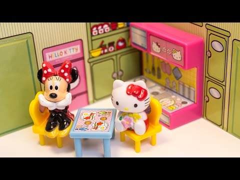 Hello Kitty and Mickey Mouse Dollhouse Unboxing Toys Review