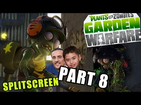 Plants vs. Zombies Garden Warfare - Splitscreen Zomboss Estate Survival Mode - Dad & Ethan (pt. 8)