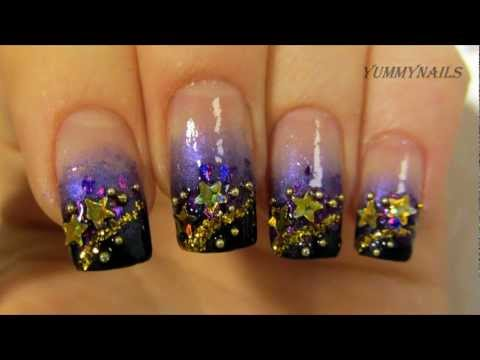 New Year 2013 Gold Purple and Black Gradient Stardust Design Nail Art Tutorial