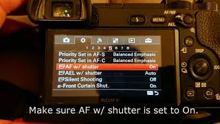 Sony A6300 autofocus not working - fix - settings change