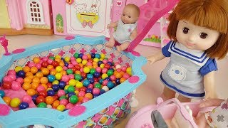 Color candy pool and baby doll play house