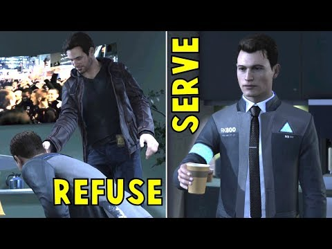 Connor Serves vs Refuse to Serve Coffee to Gavin - Detroit Become Human HD PS4 Pro
