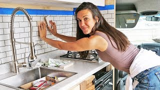 VAN CONVERSION KITCHEN SETUP // diy tiling in van build