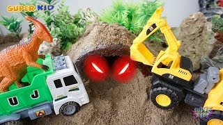 Dump Truck, Excuvator, Crane Truck  Rescue Animals in The Sand Dinosaurs Toys For Kids