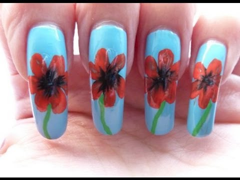 Remembrance Day Poppies One-Stroke Acrylic Nail Art Tutorial Painting Flower HD Video