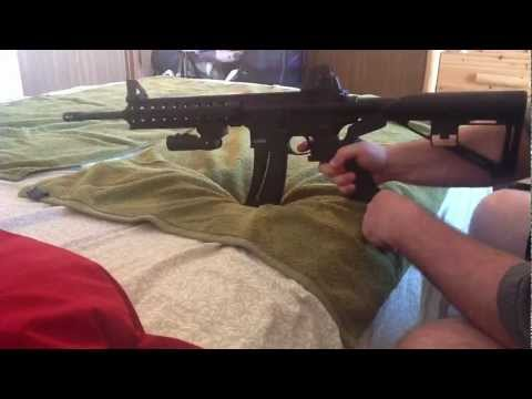 Smith and Wesson M&P 15-22 with slide fire stock. Sig 522 and Bushmaster Carbon 15 AR 15