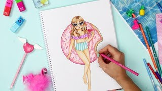 How to Draw a Girl with Floaty | TOPModel malen || Foxy Draws