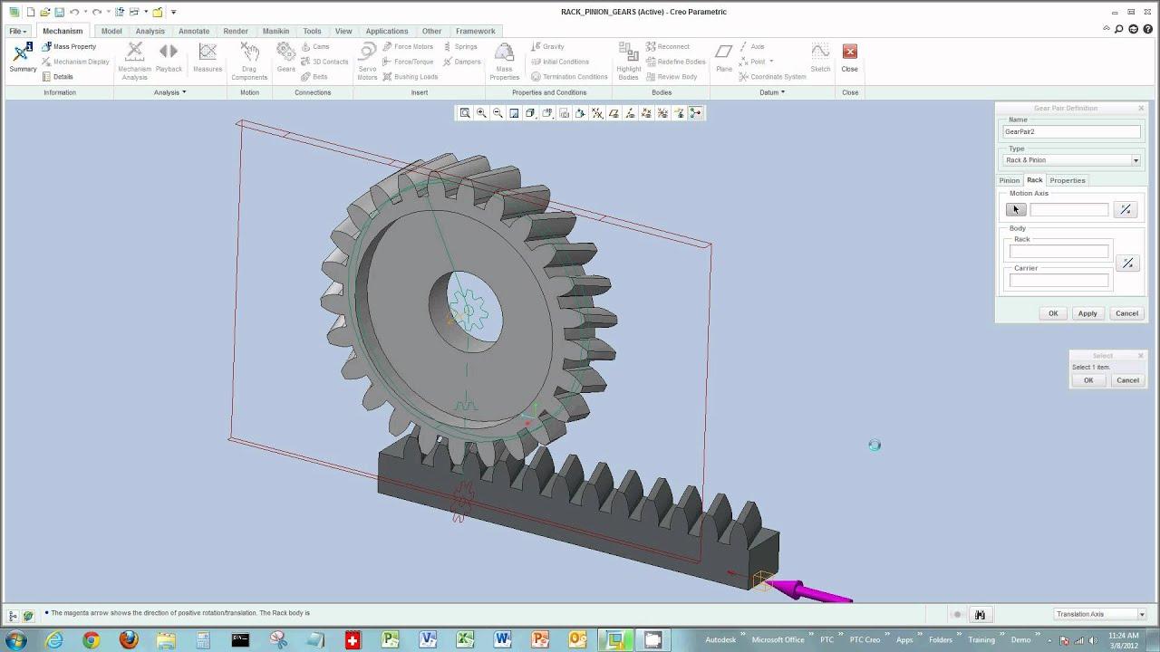 Creo Parametric Mechanism Dynamic Gears Youtube