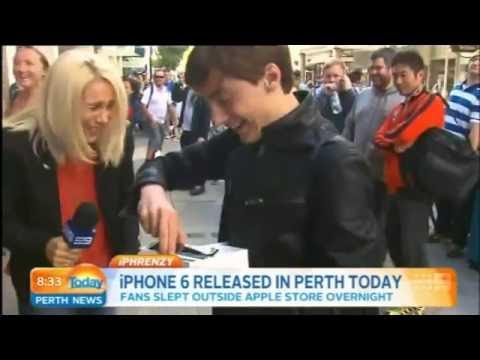 First iPhone 6 sold in Perth is dropped by kid during an interview