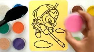 Đồ chơi trẻ em TÔ MÀU TRANH CÁT TÔN NGỘ KHÔNG -  BÉ HỌC TÔ MÀU - Colored sand painting toys