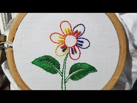 Hand Embroidery simple flower embroidery design // hand work by w_s fashion