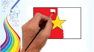 How to Draw - Draw Vietnam Flag - coloring Pages for kids | Drawing logo Channel