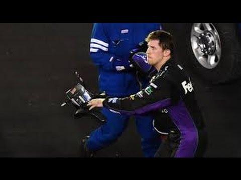 Denny Hamlin HARD crash at Bristol 2014| Throws stuff at Harvick!