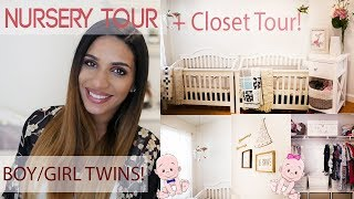TWINS NURSERY TOUR!!!! + CLOSET TOUR | BOY/GIRL DECOR | TWINZ PILLOW | SNUGGLE ME ORGANIC |